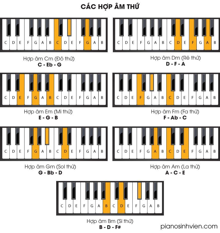 7 hợp âm thứ cơ bản trong Piano